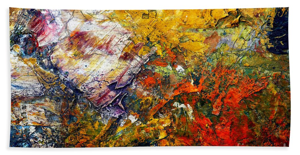 Abstract Hand Towel featuring the painting Abstract by Michal Boubin