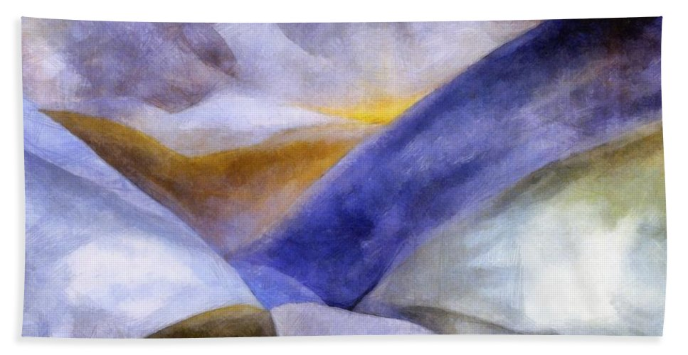 Blue Bath Sheet featuring the painting Abstract Mountain Landscape by Michelle Calkins