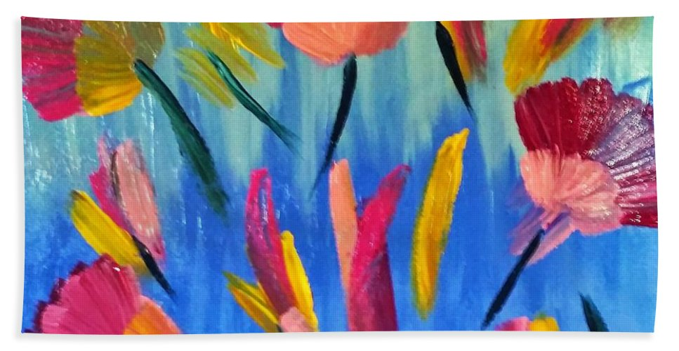 Floral Hand Towel featuring the painting Abstract No. 3 by Danusha Grigar