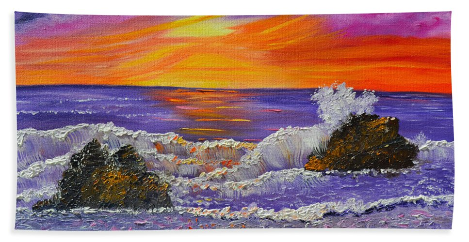 Ocean Painting | Oil Painting | Ocean Sunset | Impressionism | Abstract Art | Purple | Abstract Ocean | Ocean Beach | Contemporary Art | Ocean Waves | Kathy Symonds | Artbykatsy Hand Towel featuring the painting Abstract Ocean- Oil Painting- Puple Mist- Seascape Painting by Kathy Symonds