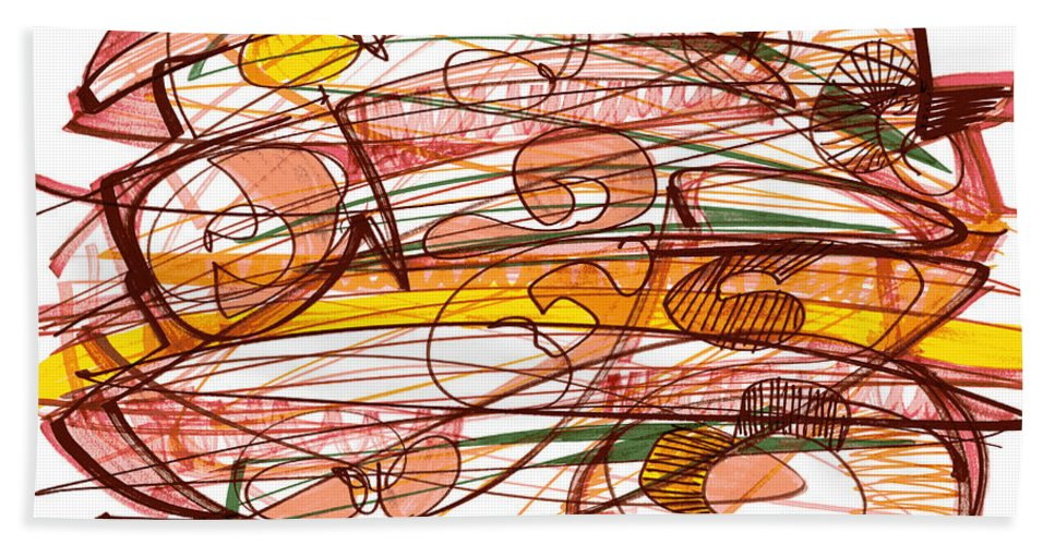 Abstract Art Bath Sheet featuring the drawing Abstract Pen Drawing Eight by Lynne Taetzsch