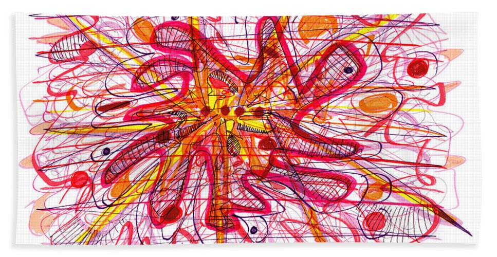 Abstract Art Bath Sheet featuring the drawing Abstract Pen Drawing Fifteen by Lynne Taetzsch