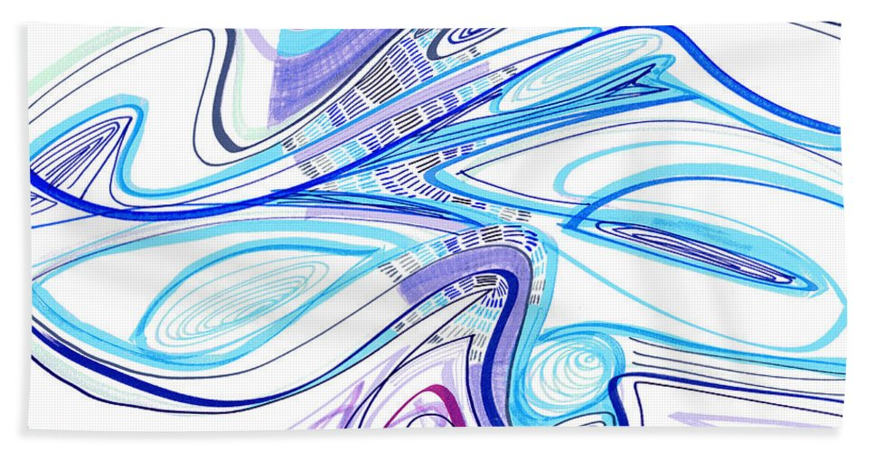 Abstract Bath Sheet featuring the drawing Abstract Pen Drawing Forty-Two by Lynne Taetzsch
