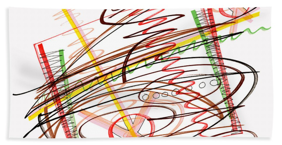 Abstract Art Bath Sheet featuring the drawing Abstract Pen Drawing Seven by Lynne Taetzsch