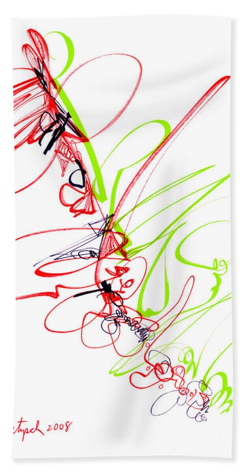 Abstract Hand Towel featuring the drawing Abstract Pen Drawing Seventy by Lynne Taetzsch