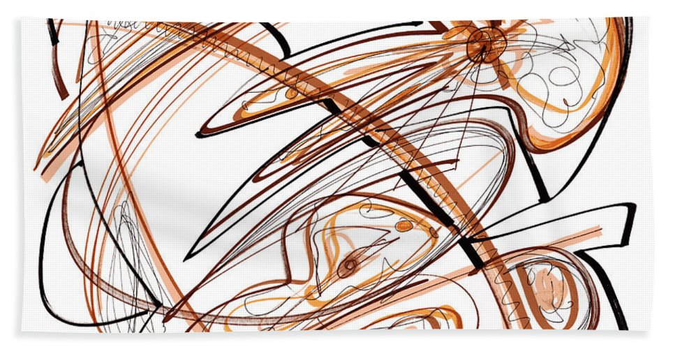 Abstract Art Bath Sheet featuring the drawing Abstract Pen Drawing Ten by Lynne Taetzsch