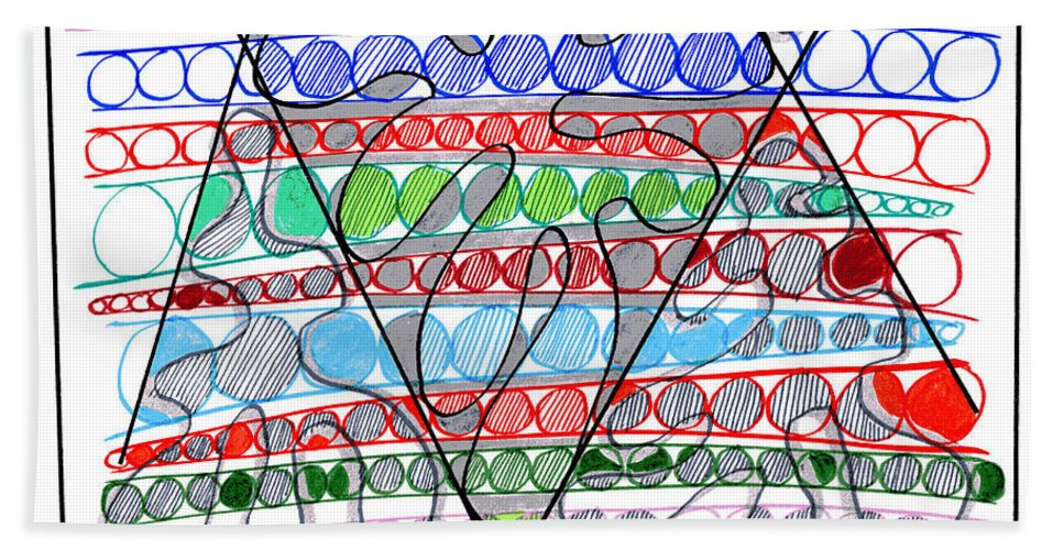 Abstract Art Bath Sheet featuring the drawing Abstract Pen Drawing Thirteen by Lynne Taetzsch