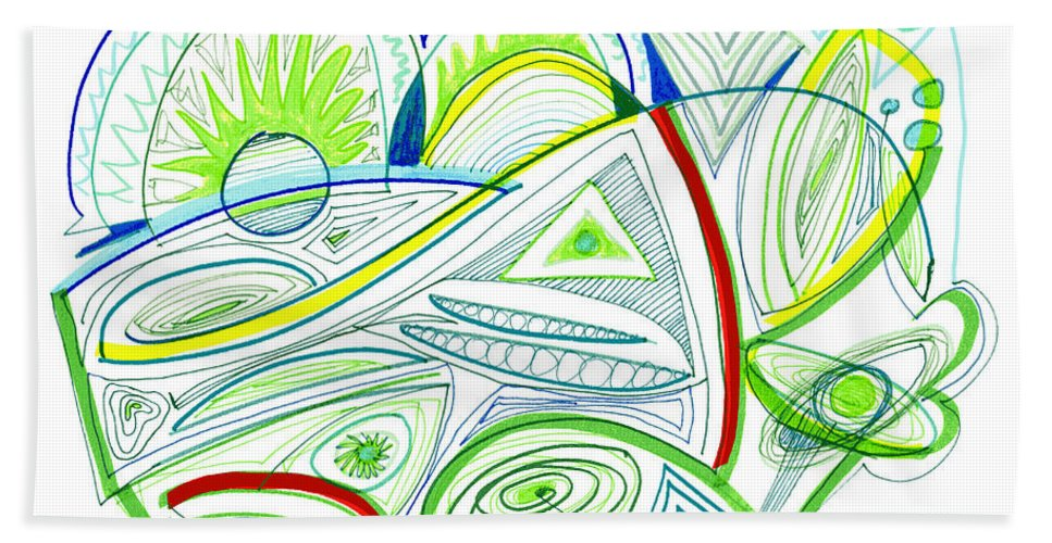 Abstract Bath Sheet featuring the drawing Abstract Pen Drawing Thirty-two by Lynne Taetzsch