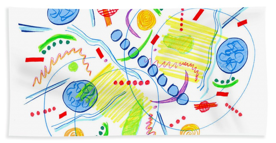 Abstract Bath Sheet featuring the drawing Abstract Pen Drawing Twenty-seven by Lynne Taetzsch