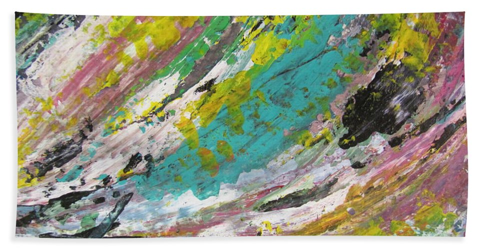 Abstract Hand Towel featuring the painting Abstract Piano 1 by Anita Burgermeister