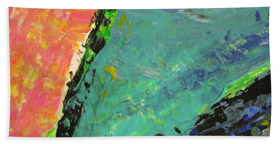 Abstract Hand Towel featuring the painting Abstract Piano 4 by Anita Burgermeister