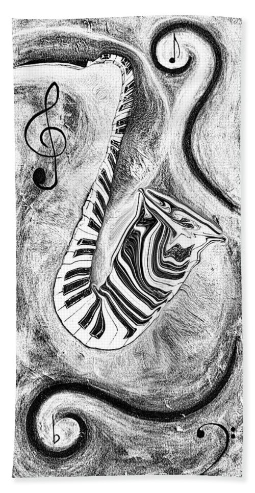 Abstract Piano Key Reflections In The Saxophone 2 - Music In Motion Bath Sheet featuring the mixed media Piano Keys In A Saxophone 2 - Music In Motion by Wayne Cantrell
