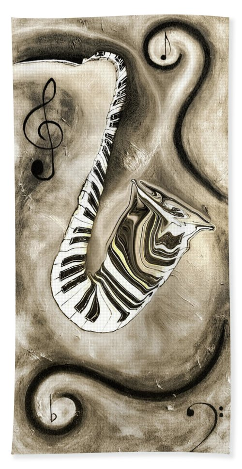 Abstract Piano Key Reflections In The Saxophone 3 - Music In Motion Hand Towel featuring the mixed media Piano Keys In A Saxophone 3 - Music In Motion by Wayne Cantrell