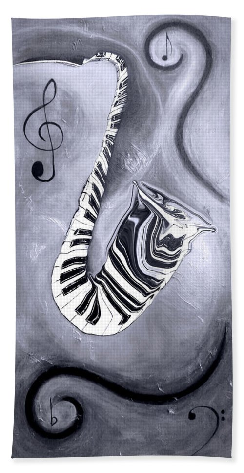 Abstract Piano Key Reflections In The Saxophone 5 - Music In Motion Hand Towel featuring the mixed media Piano Keys In A Saxophone 5 - Music In Motion by Wayne Cantrell