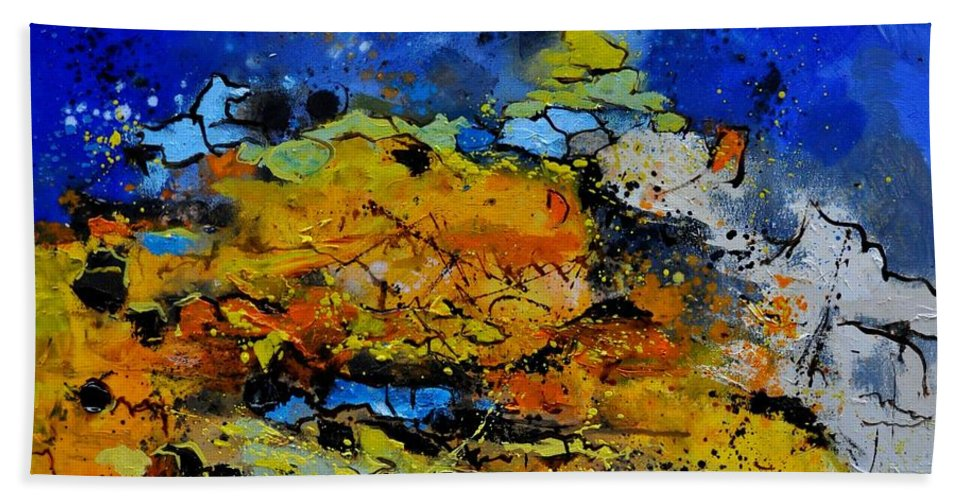 Abstract Hand Towel featuring the painting Abstract by Pol Ledent
