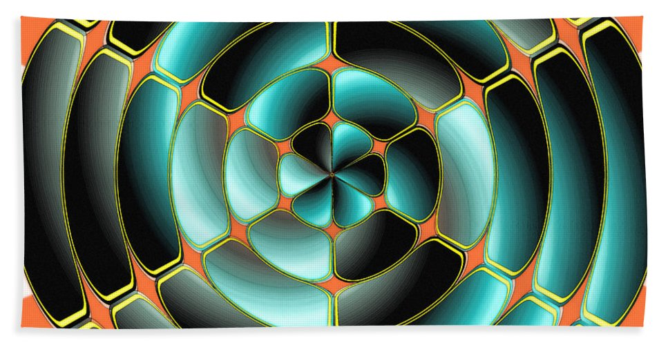 Plastic Bath Sheet featuring the digital art Abstract Radial Object by Gaspar Avila