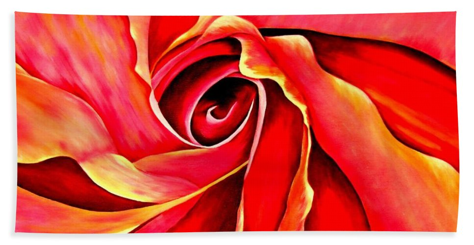 Mary Deal Bath Towel featuring the painting Abstract Rosebud Fire Orange by Mary Deal