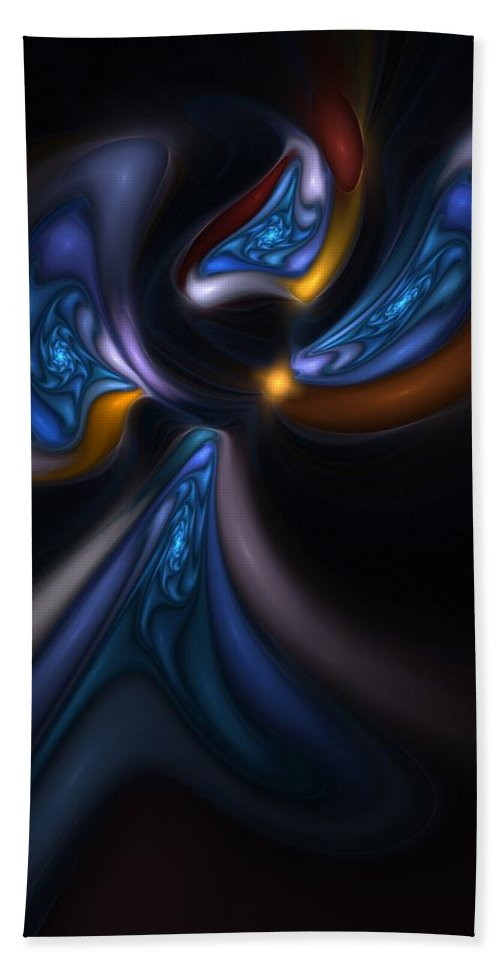Digital Painting Hand Towel featuring the digital art Abstract Stained Glass Angel by David Lane