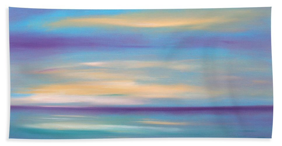 Oil Painting Sunsets Bath Towel featuring the painting Abstract Sunset In Purple Blue And Yellow by Gina De Gorna