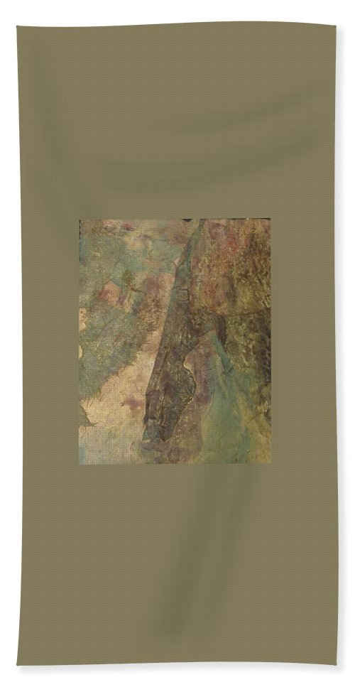 Abstract Bath Sheet featuring the mixed media Abstract Three by Pat Snook