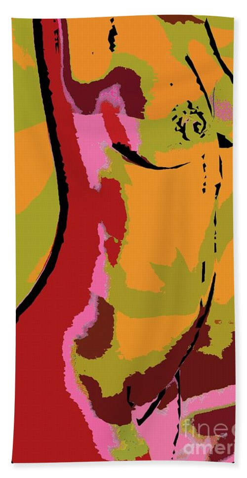 Digital Painting Bath Sheet featuring the digital art Abstract Torso by Dragica Micki Fortuna