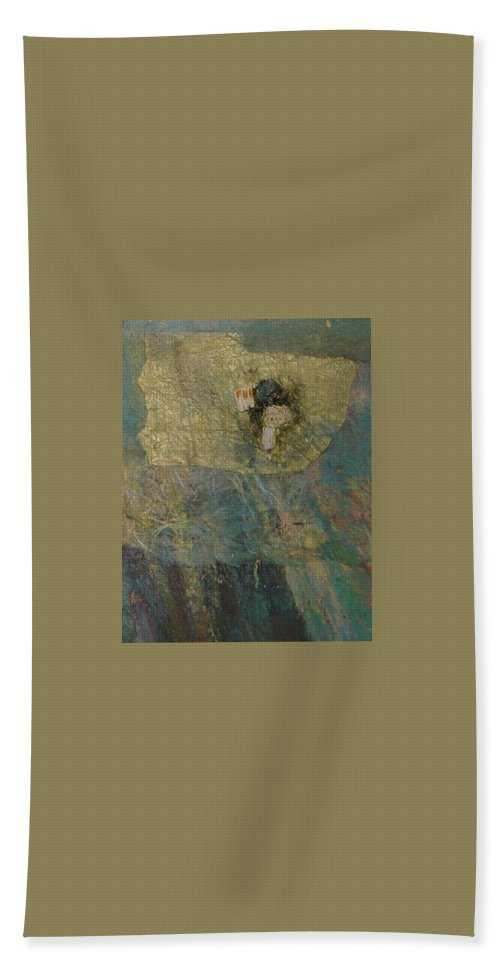 Abstract Bath Sheet featuring the mixed media Abstract Two by Pat Snook