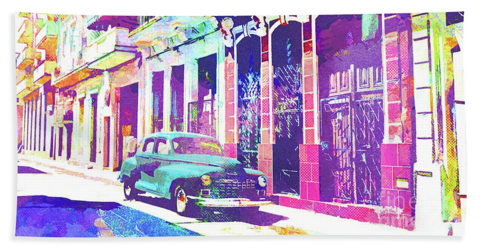 Havana Bath Towel featuring the mixed media Abstract Watercolor - Havana Cuba Classic Car I by Chris Andruskiewicz