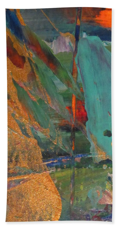 Abstract Hand Towel featuring the painting Abstract With Gold - Close Up 7 by Anita Burgermeister