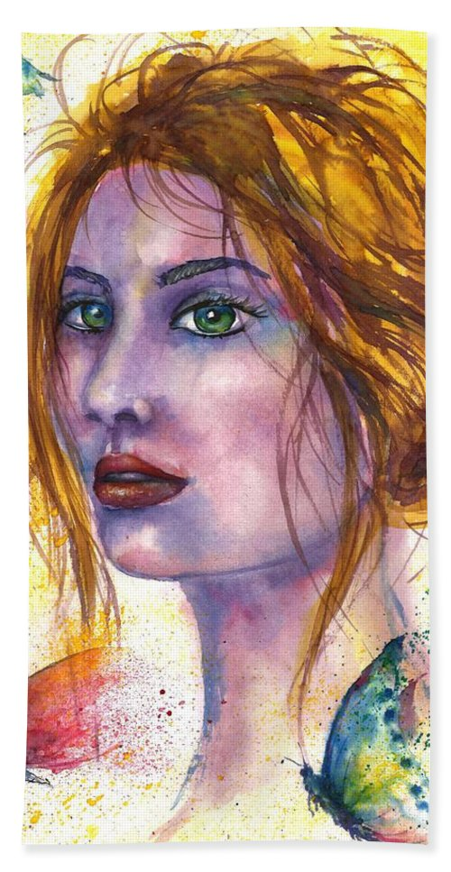 Women Face Bath Towel featuring the painting Abstract women face by Natalja Picugina