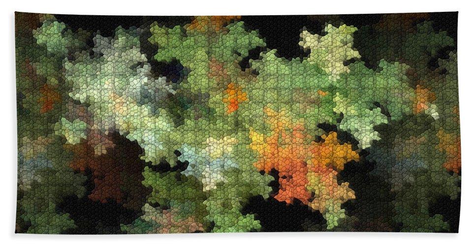 Digital Hand Towel featuring the mixed media Abstract World by Deborah Benoit