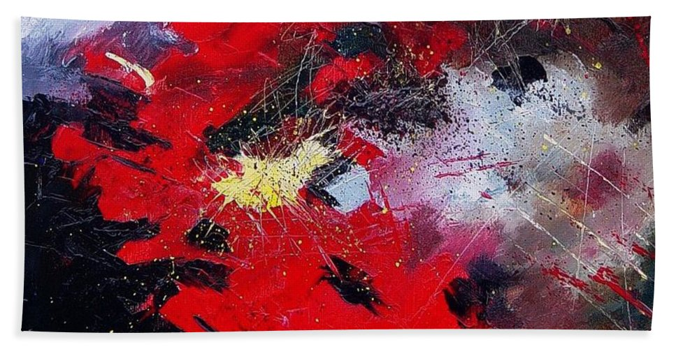 Abstract Hand Towel featuring the painting Abstract070406 by Pol Ledent