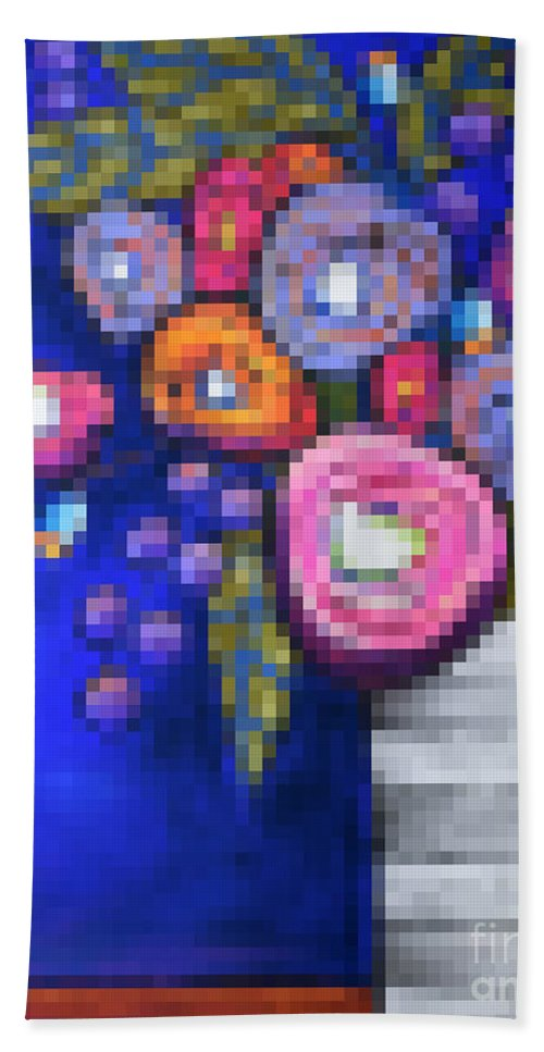 Pixels Hand Towel featuring the digital art Abstracted Flowers - 2 by David Hinds