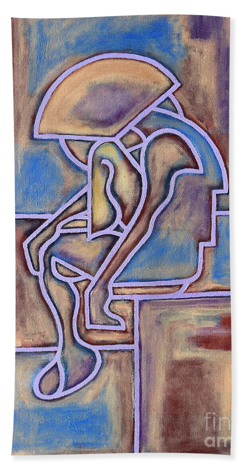 Seated Bath Sheet featuring the painting Abstraction 153 by Patrick J Murphy