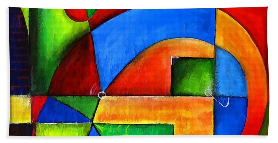 Abstraction Bath Sheet featuring the painting Abstraction 1723 by Marek Lutek