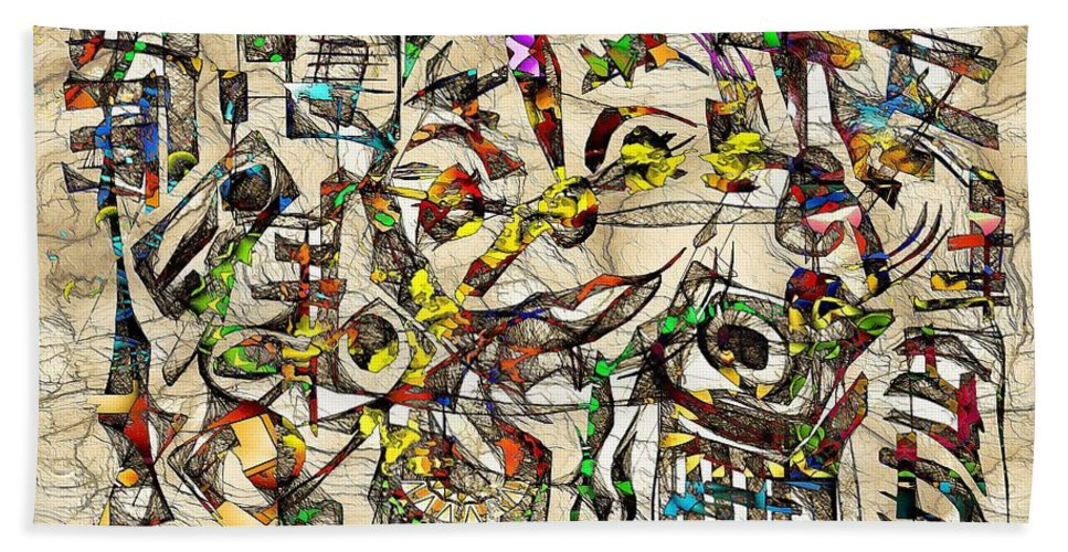 Abstraction Bath Sheet featuring the digital art Abstraction 2046 by Marek Lutek