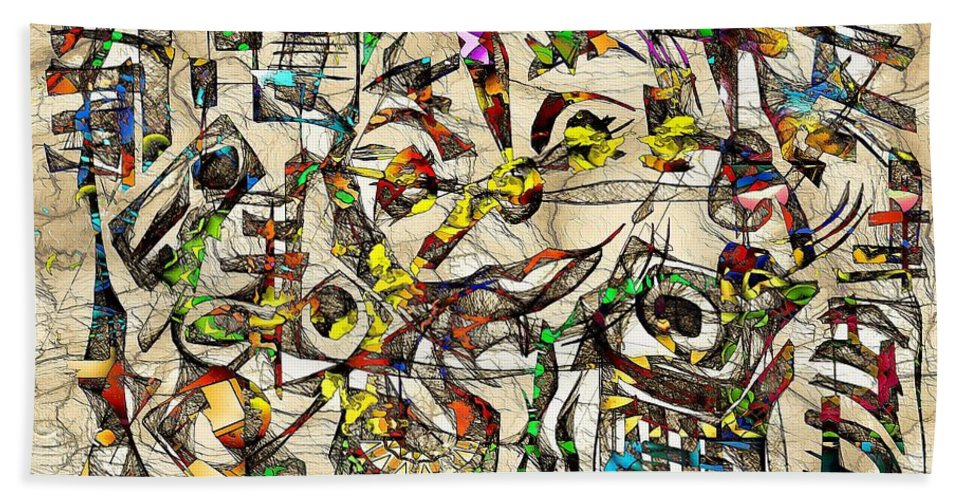 Abstraction Bath Sheet featuring the digital art Abstraction 2049 by Marek Lutek
