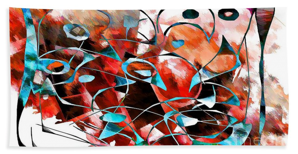 Abstraction Hand Towel featuring the digital art Abstraction 3422 by Marek Lutek