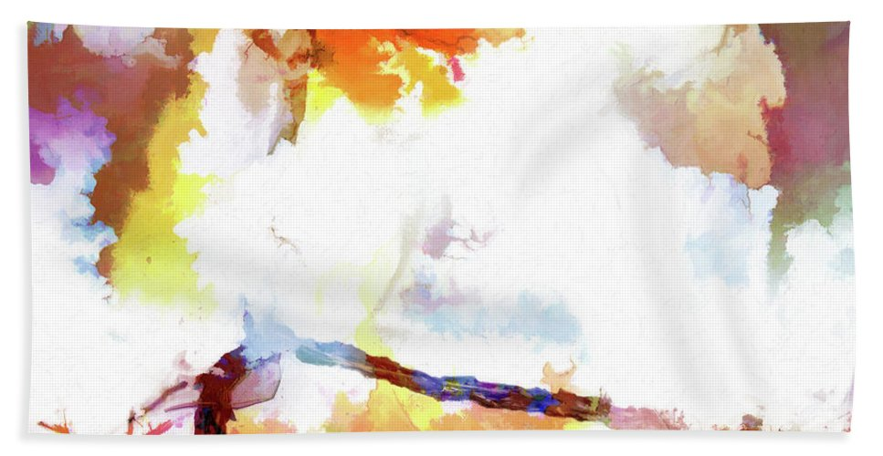 Surreal Bath Sheet featuring the digital art Abstraction #37 by Kim Curinga