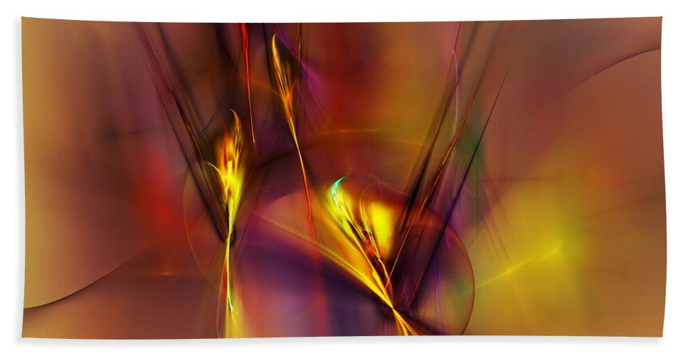 Fine Art Bath Towel featuring the digital art Abstracts Gold and Red 060512 by David Lane