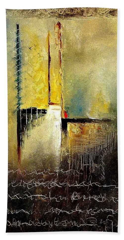 Abstract Hand Towel featuring the painting Abstrct 3 by Pol Ledent