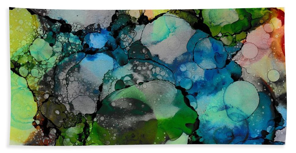 Abstract Hand Towel featuring the painting Abundance by Louise Adams
