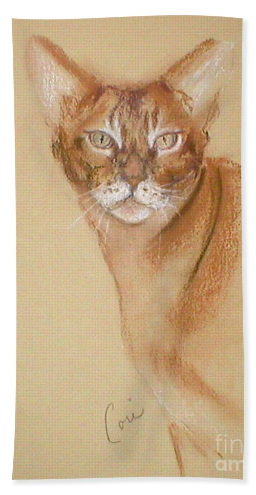 Pastel Hand Towel featuring the drawing Abyssinian by Cori Solomon