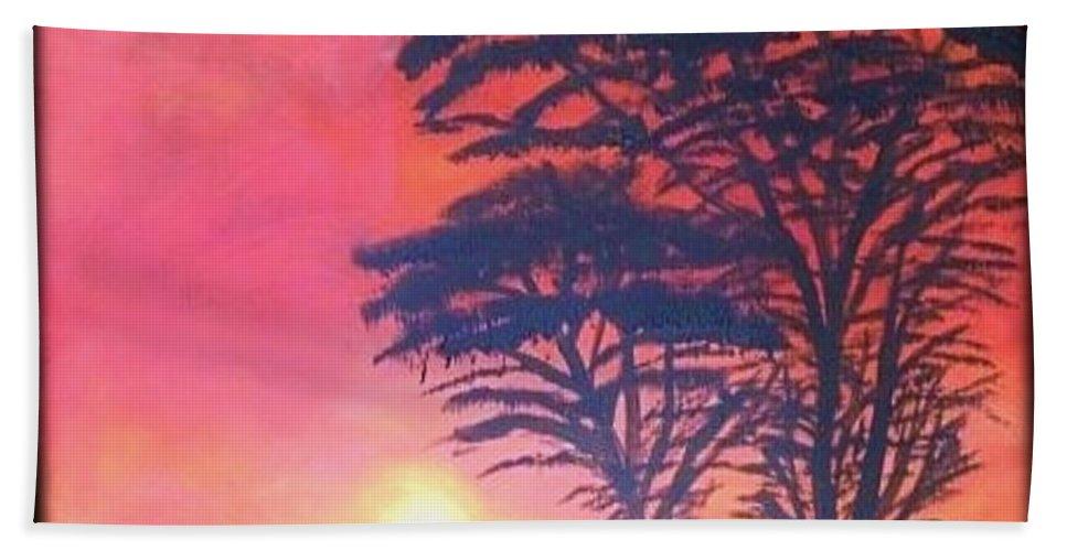 Serengeti Bath Sheet featuring the painting Acacias At Masai Mara by Claudia Lamprea