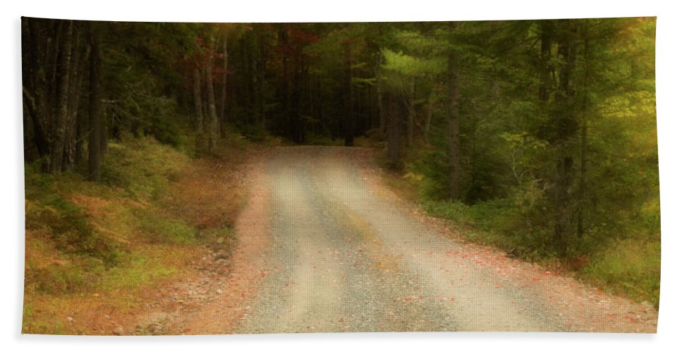 Acadia Hand Towel featuring the photograph Acadia Backroads by Linda Cullivan