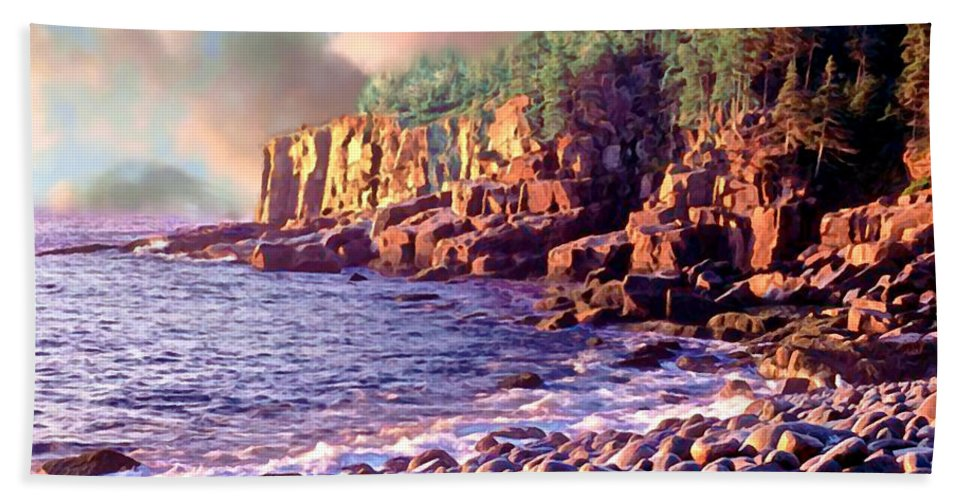 Robert Hand Towel featuring the painting Acadia National Park by Bob and Nadine Johnston