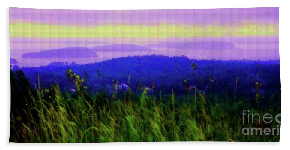 Acadia Bath Towel featuring the mixed media Acadia Sunrise by Desiree Paquette