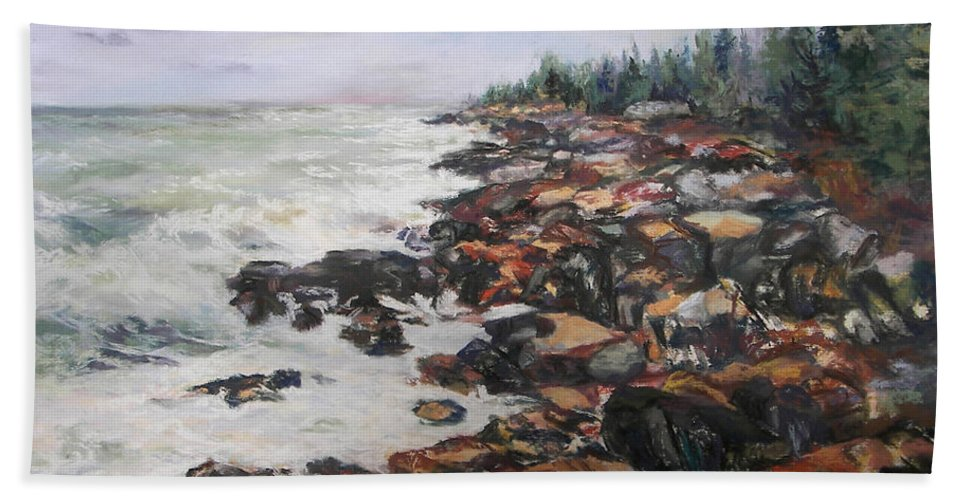 Acadia National Park Bath Sheet featuring the pastel Acadian Afternoon by Alicia Drakiotes