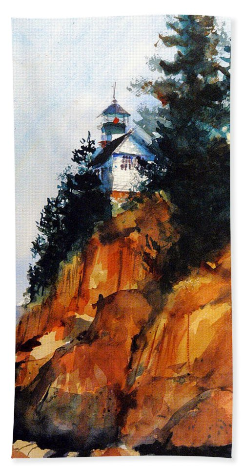 Acadia. Acadian Bath Towel featuring the painting Acadian Lighthouse by Charles Rowland