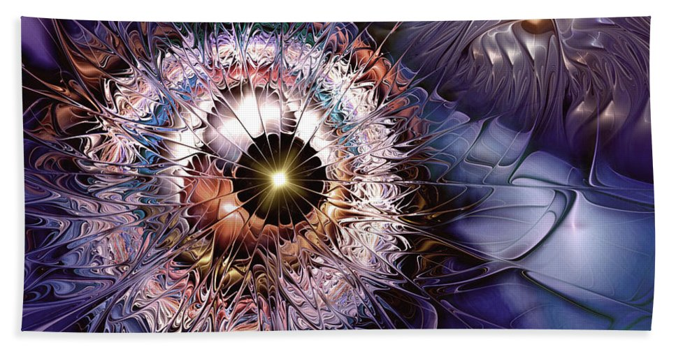 Abstract Bath Sheet featuring the digital art Accelerating The Process Within by Casey Kotas