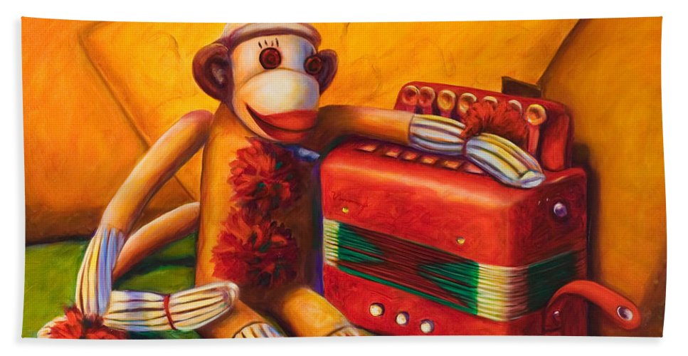 Children Hand Towel featuring the painting Accordion by Shannon Grissom